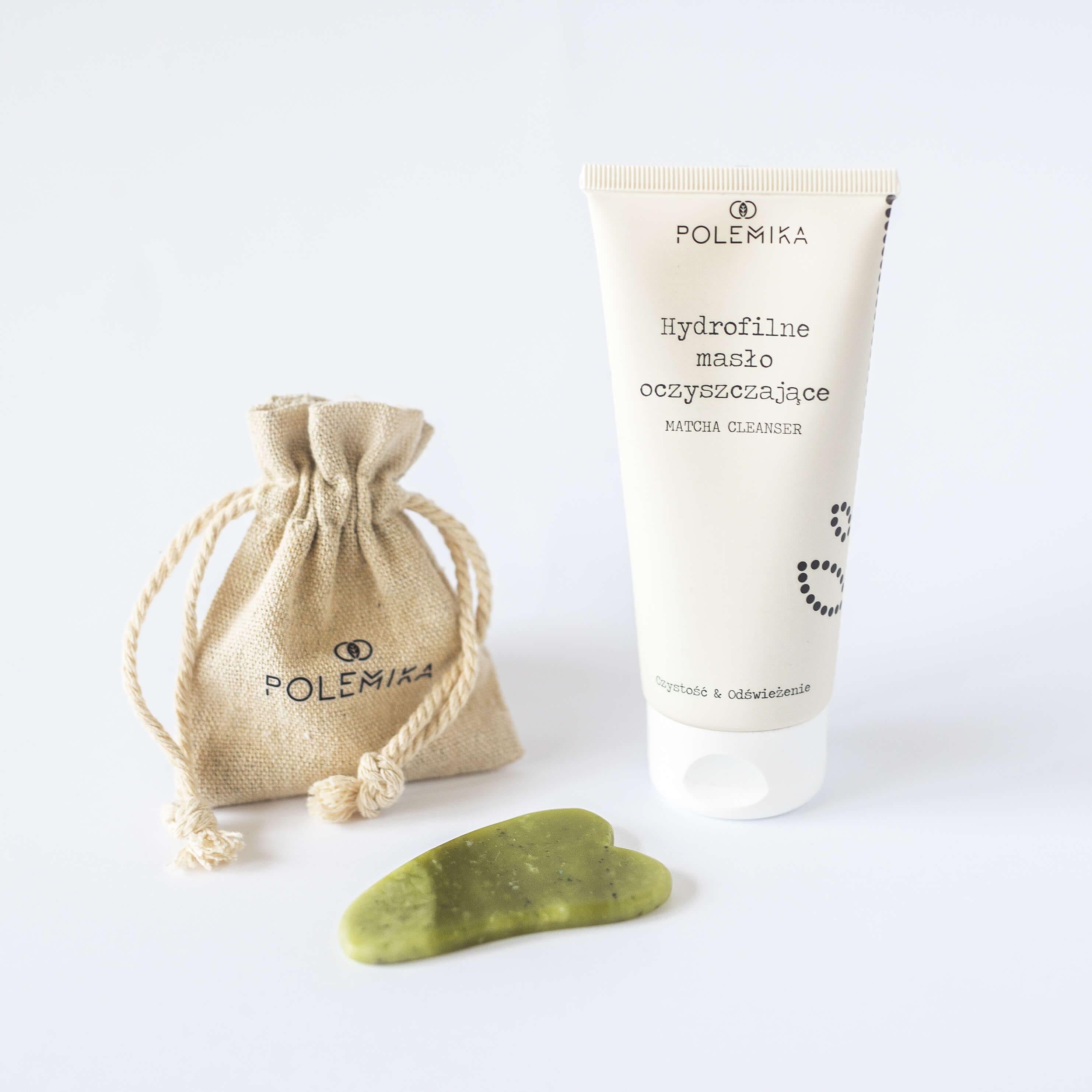 Zestaw kosmetyków - hydrofilne masło i płytka gua sha